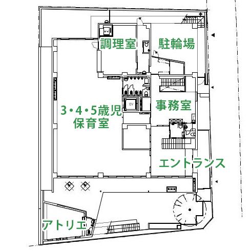 1F平面図(地下1階2階建て、屋上園庭設置)